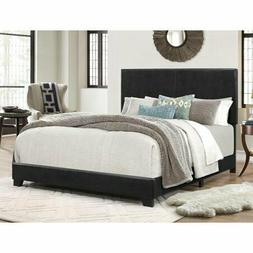 Full Size Bed Frame Platform With Headboard Erin Black Faux