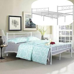 Full Size Metal Bed Frame Bedroom Mattress Foundation with H