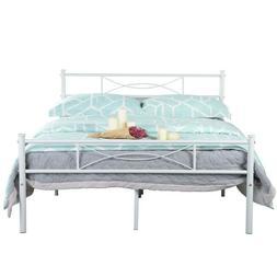 Full Size Metal Bed Frame Bedroom Sturdy Platform Mattress F