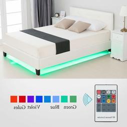 Full Size Metal Bed Frame Platform Leather Upholstered w/LED