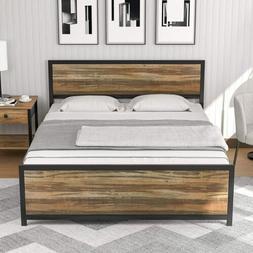 Full Size Metal Bed Frame Platform Rustic Farmhouse Mattress