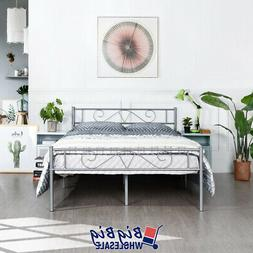 Full Size Metal Bed Frame Silver Mattress Foundation with He