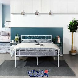 Full Size Metal Bed Frame White Mattress Foundation with Hea