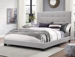 Full Size Platform Bed Frame Upholstered Headboard Tufted Be