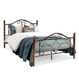 Full Size Steel Bed Frame Platform Stable Metal Slats Headbo