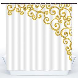 SCOCICI Funky Shower Curtain,Gold and White,Side Frame of Fl