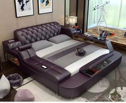 genuine leather bed frame soft beds massager