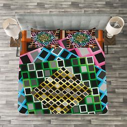 Geometric Quilted Bedspread & Pillow Shams Set, Color Square