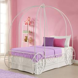 Girls Twin Bed Frame Canopy Carriage Metal Cinderella Prince