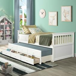 White Bed Frame Storage Twin W/Trundle and Drawers Daybed Ca