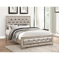 Abbyson Living Grayson Mirrored Leather Queen Bed in Gray