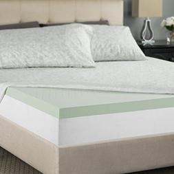 Zinus 2 Inch Green Tea Memory Foam Mattress Topper, Short Qu