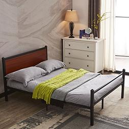 GreenForest Platform Bed Heavy Duty Metal Bed Frame with Woo