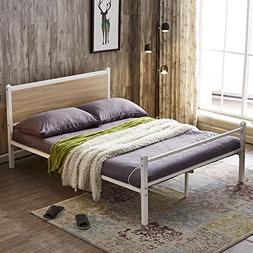 GreenForest Platform Bed Heavy Duty Metal Bed Frame with Oak