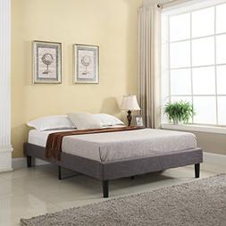 modern linen fabric platform bed