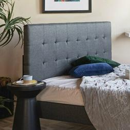 Grey Linen Fabric Upholstered Platform Bed with Wooden Slats
