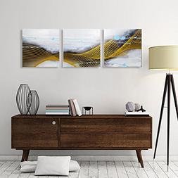 ARTLAND Hand-painted 20x60-inch 'Listening to the Rain'3-pie