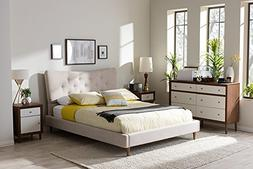 Baxton Studio Hannah Full Platform Bed in Beige