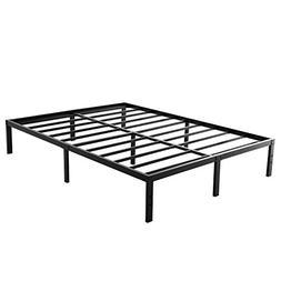 Full Size Metal Bed Frame-Steel Slat Mattress Foundation, He