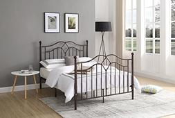 Hodedah Complete Metal Queen-Size Bed with Headboard, Footbo
