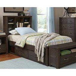NE Kids Highlands Twin Bookcase Storage Bed in Espresso