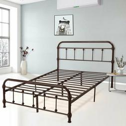 Metal Bed Full Size Platform Bed Frame Bedroom Furniture W/