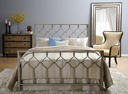 Honeycomb Bed - Brushed Gold - Geometric Headboard, Footboar