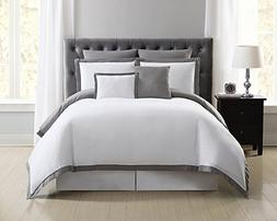Truly Soft Everyday Hotel Border Duvet Set 7 Piece, King, Wh