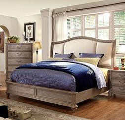 247SHOPATHOME IDF-7612Q Bed Frame, Queen, Oak
