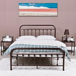 Industrial Style Metal Platform Bed Frame with Headboards an