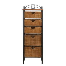 Iron and Wicker Five-Drawer Unit