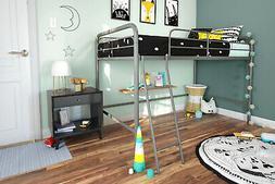 DHP Junior Metal Loft Bed Frame W/ Ladder Twin Size Sturdy F