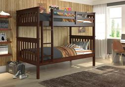 Donco Kids Twin over Twin Mission Bunk Bed in Cappuccino wit