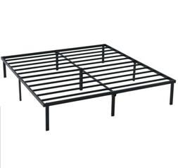 "King Bed Frame Platform 14"" Heavy Duty Slat Black Steel Bedr"