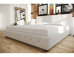 King Bed Frame Platform Upholstered Wood White Tufted Beds W