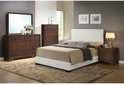 ACME Furniture King Bed Frame Upholstered Headboard White Wo