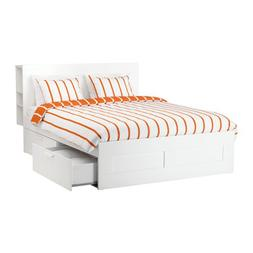 Ikea Queen size Bed frame with storage & headboard, white, L