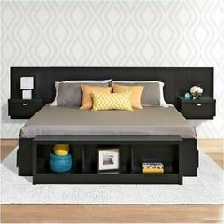 BOWERY HILL King Platform Storage Bed with Floating Headboar