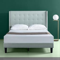 King Size Bed Frame Upholstered Tufted Headboard Platform Be