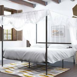 YITAHOME King Size Canopy Bed Frame Metal Platform Mattress