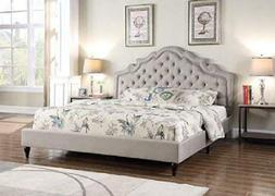 King Size Gray Luxury Platform Bed Nailed Tufted Arch Headbo