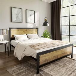 Heavy Duty Metal Platform Bed Frame Steel Slat No Box Spring