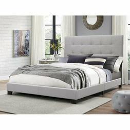 King Size Platform Bed Frame Upholstered Headboard Tufted Be