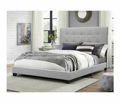King Size Platform Bed Frame w/Tufted Headboard Gray Upholst