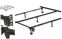 7-Leg Adjustable Metal Bed Frame with Center Support Rug Rol