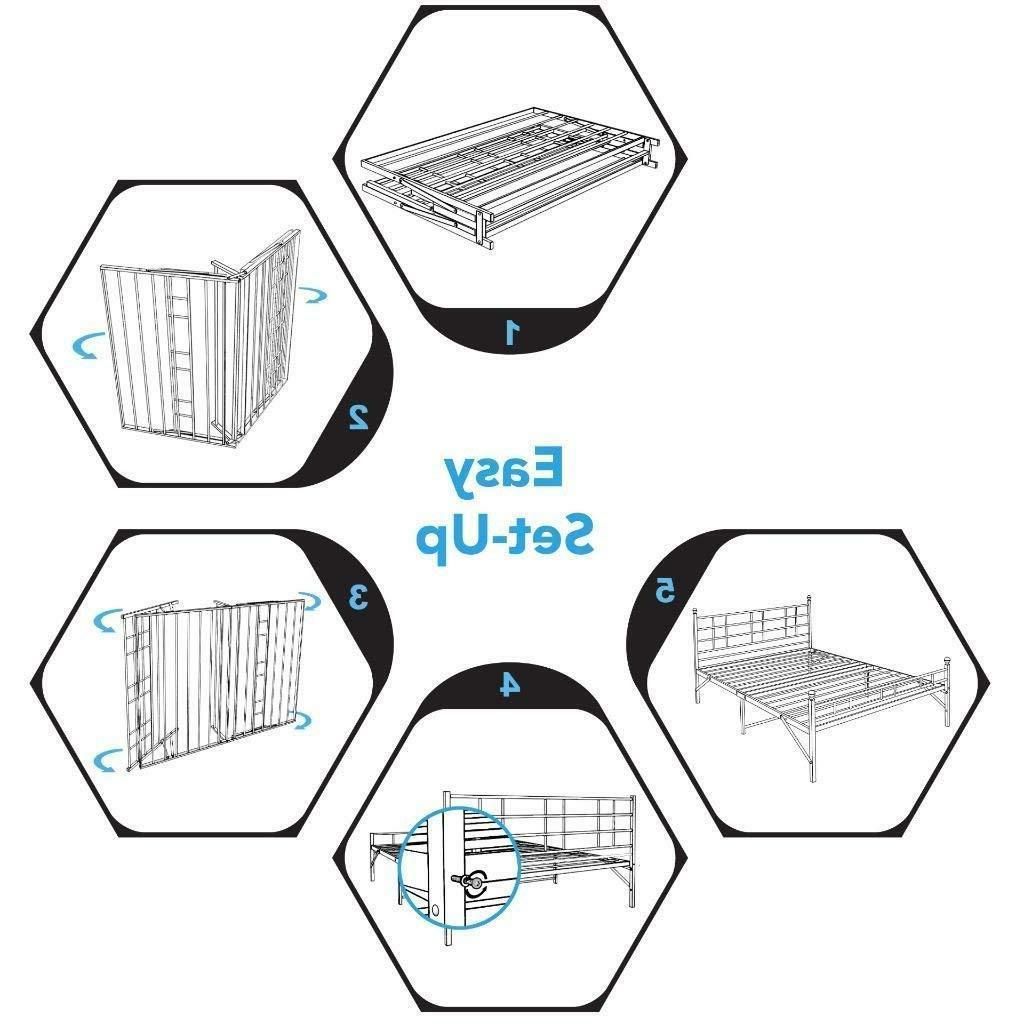 "12"" Platform Bed with Headboard, Bi-Fold, Setup"