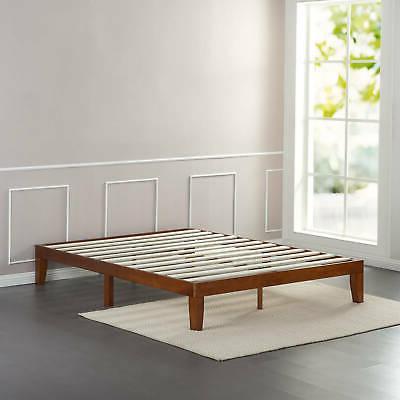 "12"" WOOD PLATFORM BED Frame Queen Size Mattress Foundation B"