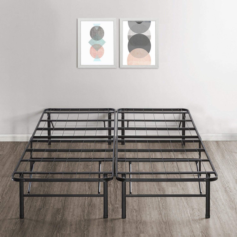 14'' Easy Setup Bi-Fold Metal Bed Frame w Under bed Storage,