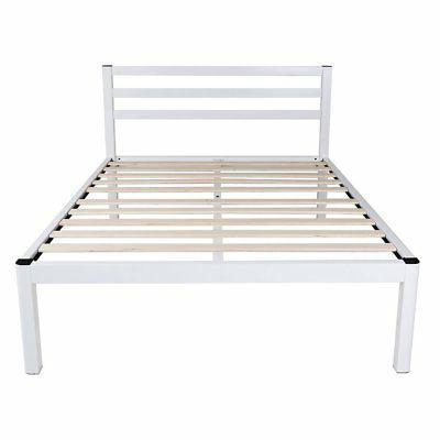 14 inch wood slat white metal platform