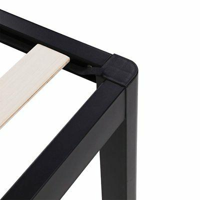 intelliBASE Wood Slat Black Platform Bed Twin